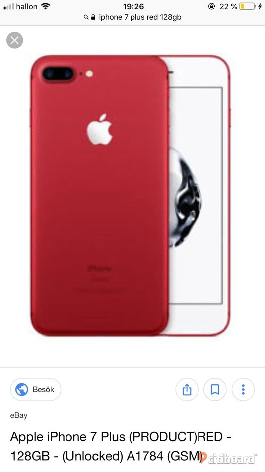Iphone 7+ 128gb Red Edition Finspång