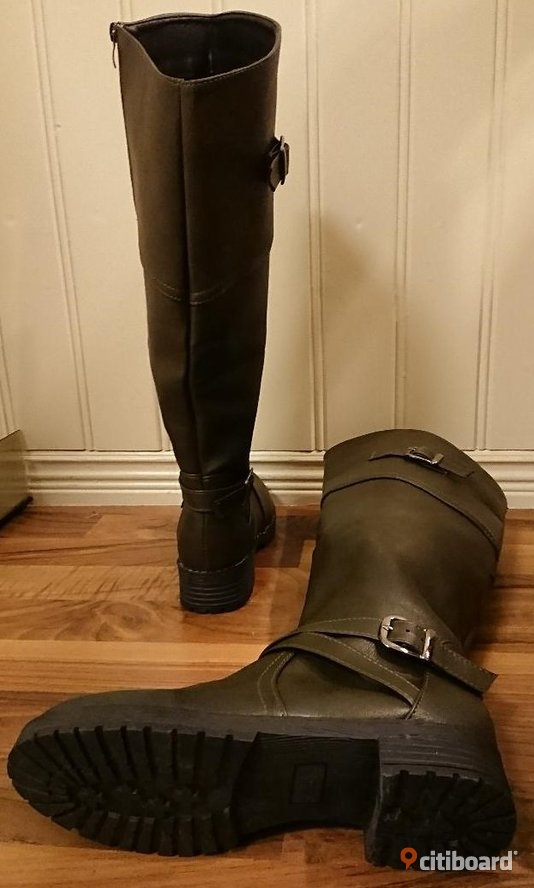 NY! STL 37. Women Fashion Winter Wide Calf Low Heel Belt Buckle Riding Boots WIDE 36-37 Vardag & sneakers Trollhättan / Vänersborg / Uddevalla