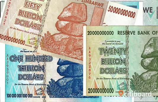 Zimbabwe 100 trillion, billion, million dollar sedlar