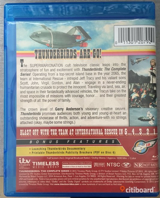 Thunderbirds, The complete series - Blu-ray - 6 disc - Gerry Anderson  Falun / Borlänge Sälj