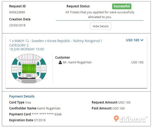 Ticket Russia World Cup 2018 Sweden - South Korea