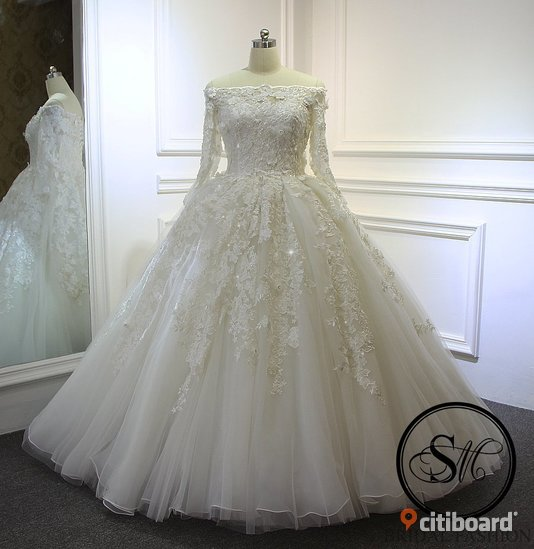 7c5fcfac66e1 Brudklänning Bröllopsklänning Ball Gown Långärmad Snörning Off Shoulders  Blommor Vit Ivory Sweep Brush Train Släp Mode