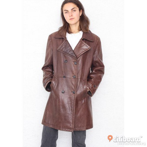 HOLLIES Lady Leather Coat in Vintage Brown!  44-46 (L) Stockholm