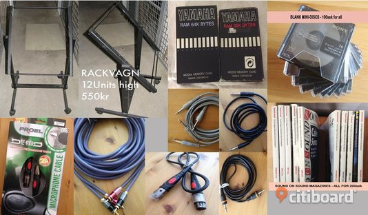 Diverse STUDIO & SCENUTRUSTNING  - Rackvagn, memory cards, cables, mini-discs, CD-RW