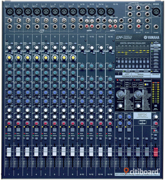 YAMAHA EMX 5016 CF - Stockholm, Södertälje - New YAMAHA EMX 5016cf powered mixer with 8 mono and 4 stereo chanals on 1000w for 11000 kr. please contact me via sms or the email - Stockholm, Södertälje