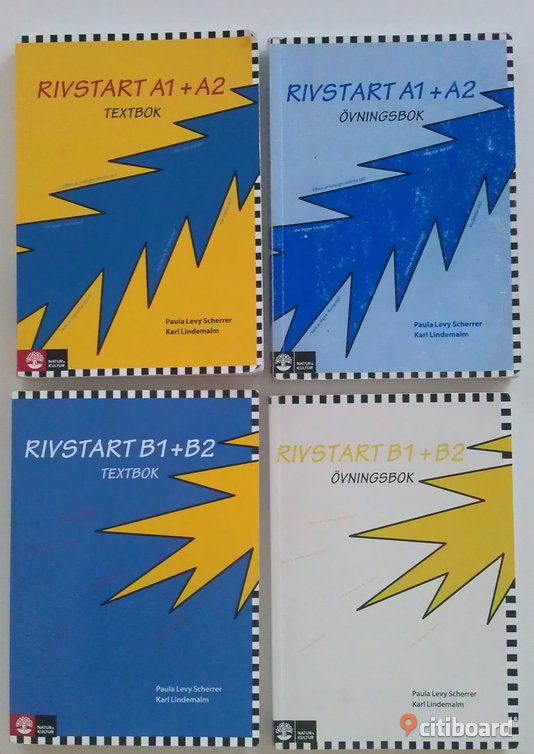 Rivstart A1+A2 and B1+B2 - Östergötland, Linköping - Rivstart A1+A2 and B1+B2, both the textbooks (with CDs) and the exercise books. All in very good condition. Price 750kr. (new ones cost around 1300kr all together in bokus.com) - Östergötland, Linköping